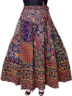 Modern Kart Women's Cotton Wrap Skirt (MKSKT056, Black, Free Size)