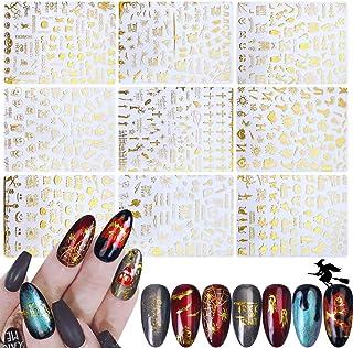 IDALL Halloween Party Nail Art Adhesive Stickers - 9PCS Gold 3D Mixed Pattern Metallic Nail Stickers,Manicure DIY Nail Dec...