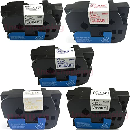 5PK TZ TZe-154 Gold on Clear Compatible For Brother P-Touch TZe Label Tape 24mm