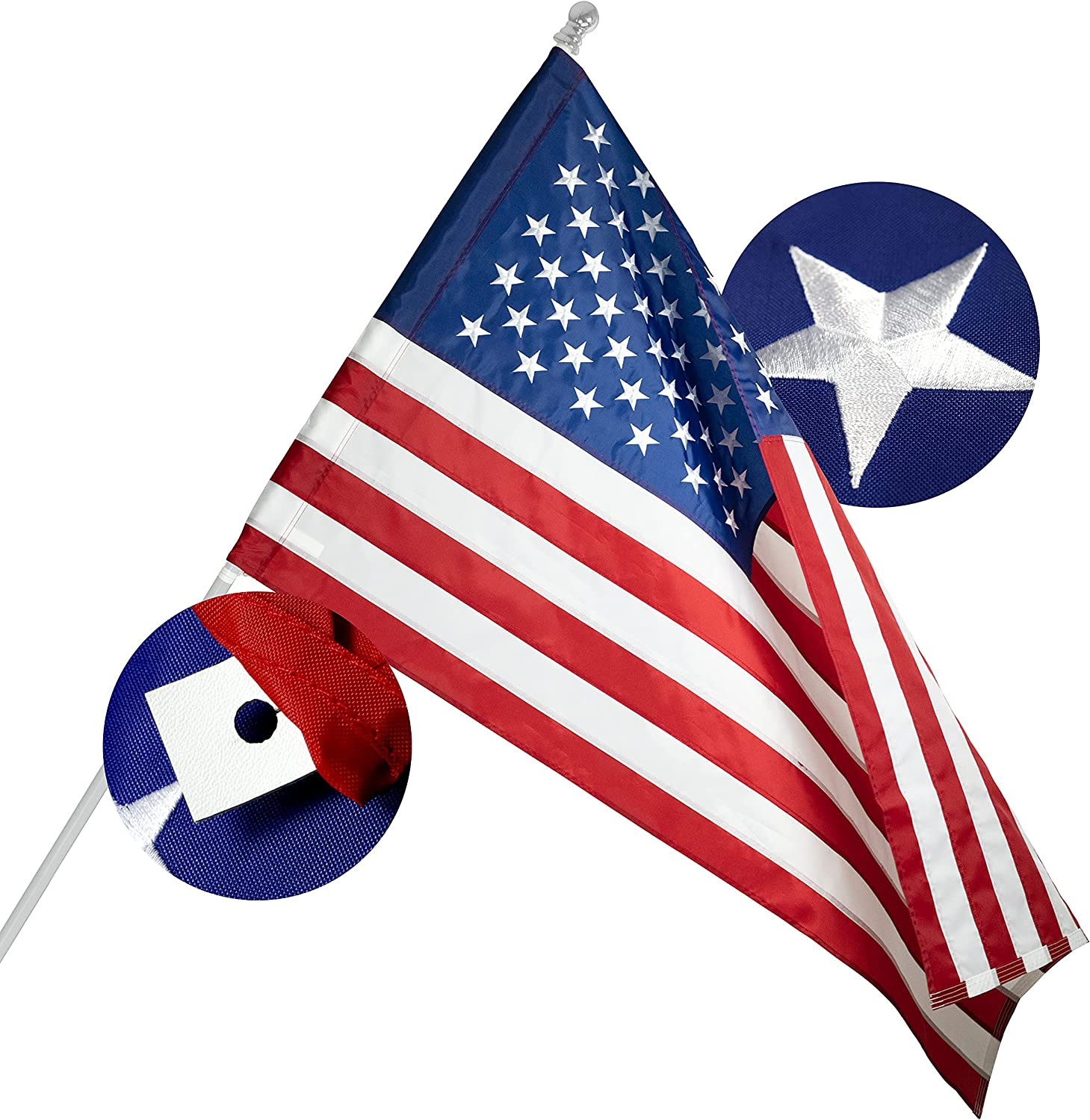 G128 - American Mail order cheap USA US New arrival Flag 3x5 Banner Embr Style Pole Ft Sleeve