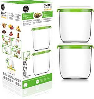 FOSA Vacuum Seal Food Storage System Reusable Large Containers, 2 Pack, 45 oz Size