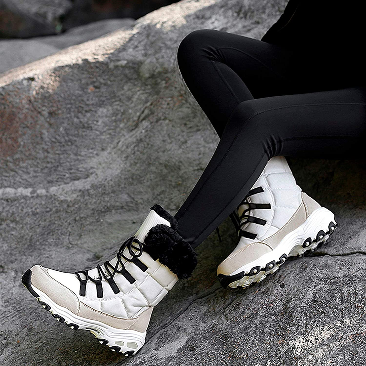 Appoi Women Mid-Calf Boots Faux Fur Lace Up Winter Snow Boot Outdoor Non-Slip Sneakers Comfortable Flats Shoes for Teen Girls