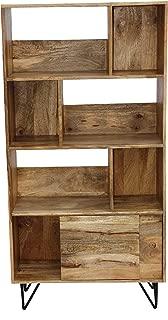 The Urban Port 38940 Industrial Design Wooden Bookshelf/Display Cabinet, Natural Brown and Black