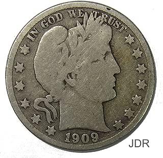 1909 S Silver Barber Half Dollar 50c Very Good