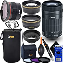 Canon EF-S 55-250mm F4-5.6 is STM Lens for Canon SLR Cameras (International Version) + Fisheye Lens + Telephoto & Wide Angle Lenses + 3pc Filter + 7pc Accessory Kit w/HeroFiber Cleaning Cloth
