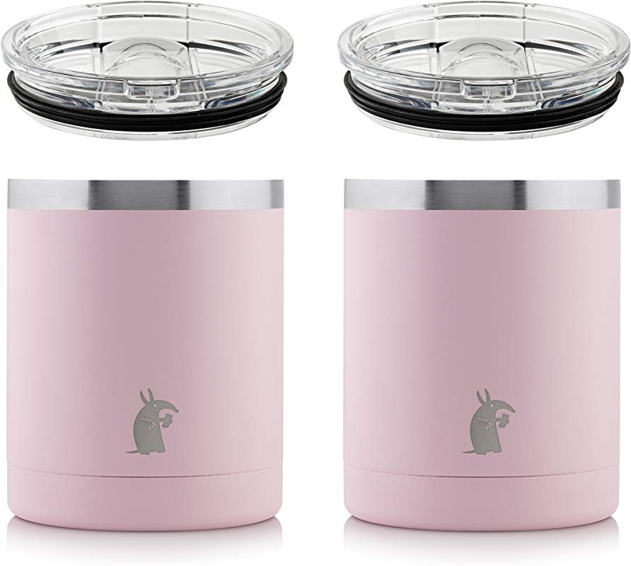 Thirsty Aardvark 10 Oz Lowball Tumbler For Whiskey Coffee And Cocktails Stainless Steel Double Wall Vacuum Insulated Cup With Lid 2 Pack Pink