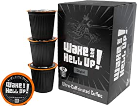 Wake The Hell Up! Dark Roast K-Cups Single Serve Capsules | Ultra-Caffeinated Coffee For Keurig K-Cup Brewers | 12 Count, 2.0 Compatible Pods | Perfect Balance of Higher Caffeine & Great Flavor.