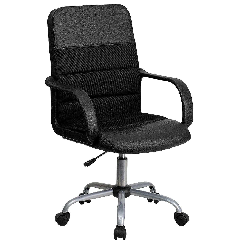 農学マーチャンダイザーあいさつFlash Furniture Mid-Back Black LeatherSoft and Mesh Swivel Task Office Chair with Arms, BIFMA Certified 141[並行輸入]