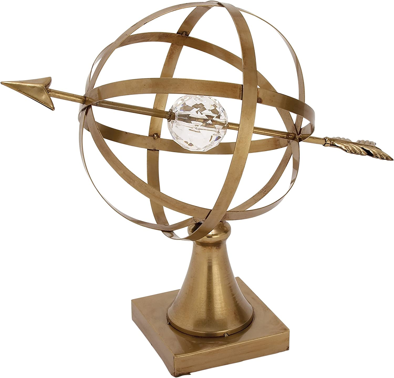 Benzara Metal Acryl Globe 18  W, 15  H, Bronze, Clear