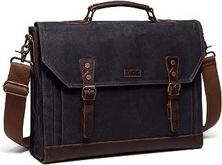 Messenger Bag for Men,Vaschy Vintage Waxed Canvas Leather Water Resistant 15.6 inch Laptop Satchel Business Briefcase Shoulder Bag Gray
