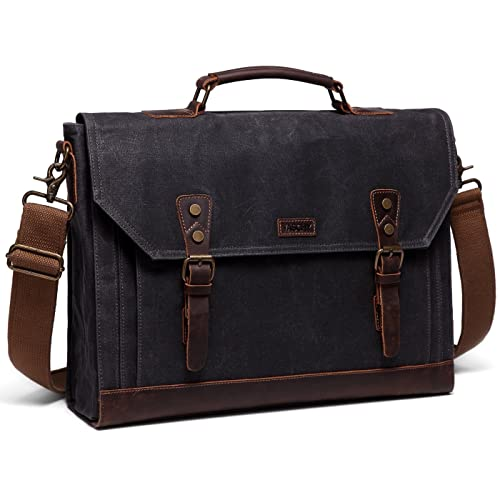 Vaschy Vintage Genuine Leather Canvas Messenger Bag Laptop Briefcase  Satchel Shoulder Bag Bookbag with Detachable Strap c35be30e03266