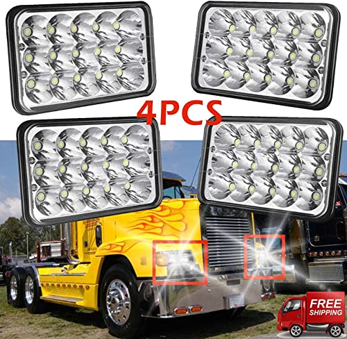 2021 4x6 Inch LED Headlight Rectangular Seal Beam High Low Beam for 2002-2010 outlet sale Freightliner Classic Headlamps 45W 6000K H4651 H4652 H4656 H4666 H6545 Pack online sale of 4 Plug & Play - 2 Year Warranty sale