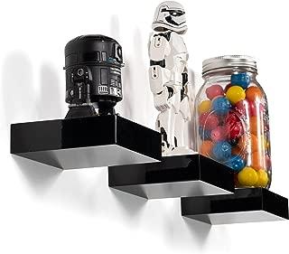 brightmaison Modern Kids Room Décor Display Showcase Nursery Wall Mount Floating Glossy Ledge Shelf (Set of 3 - Black)