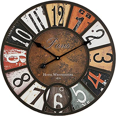 LHKAVE American Vintage Wood Wall Clock Home Decoration, Pastoral Creativity Wall Clock