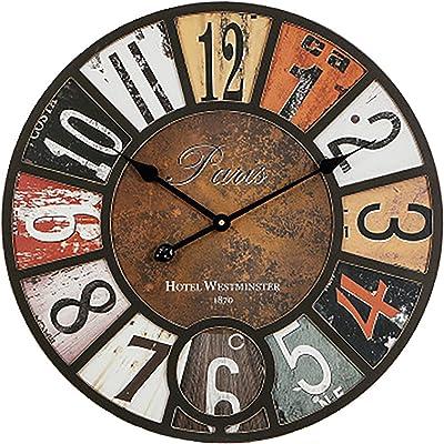 LHKAVE American Vintage Wood Wall Clock Home Decoration, Pastoral Creativity Wall Clock