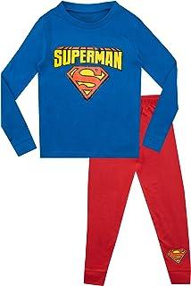 DC Comics Pigiama a Maniche Lunghe per Ragazzi Superman Vestibilitta Stretta