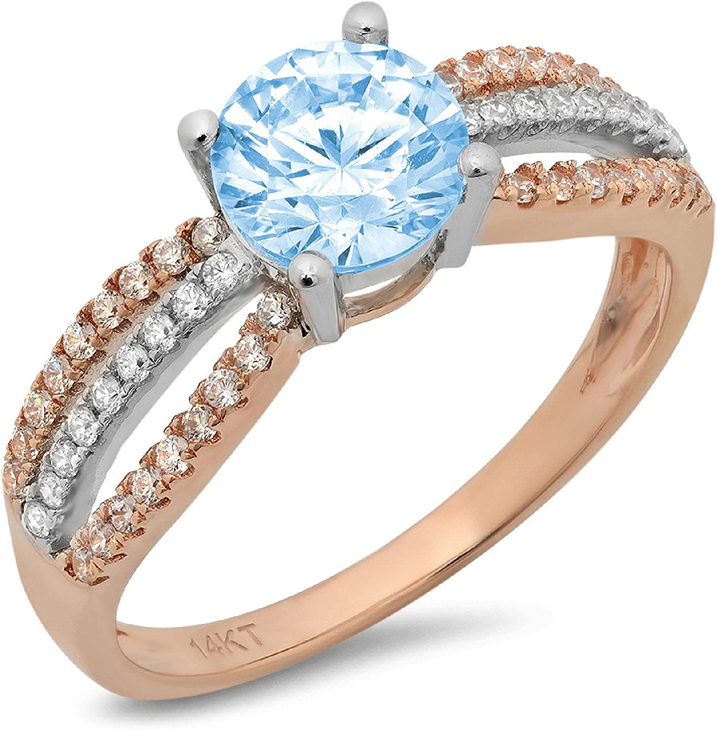 Clara Pucci 1.35 ct All items online shop free shipping Round Accent Genuine Cut Stunning Solitaire