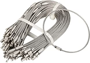 bayite Pack (100) Stainless Steel Wire Keychains Cable, Key Rings, Heavy Duty Luggage Tags Loops Tag Keepers 2mm Twist Barrel (Cable Length: 10 inches)