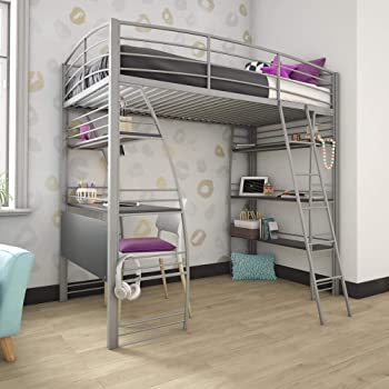 Amazon Com Dhp Studio Loft Bunk Bed Over Desk And Bookcase With Metal Frame Twin Gray Furniture Decor