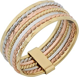 14k Tricolor Gold Seven Days 7 Blessings Stack Ring, 6.7mm