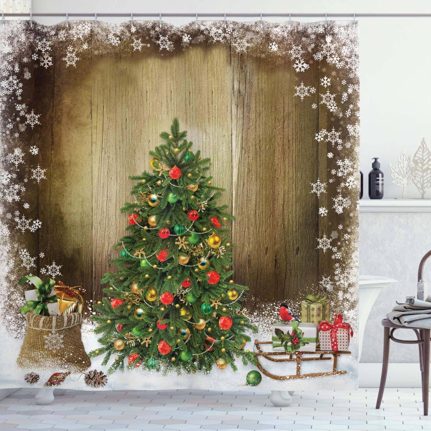 Ambesonne Christmas National products Shower Curtain Decor Fabric Now free shipping Cloth Bathroom