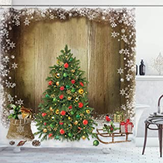 Ambesonne Christmas Shower Curtain, Cloth Fabric Bathroom Decor Set with Hooks, Boxes Snowy Board, 70