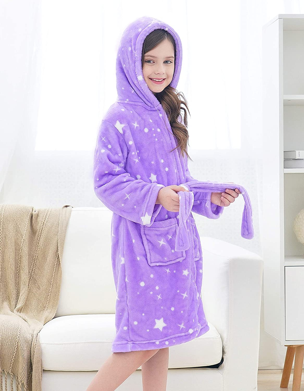 Doctor Unicorn Soft Hooded Rainbow Bathrobe Sleepwear for Girls