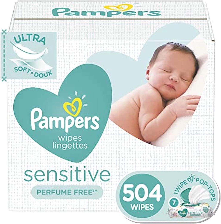 婴儿湿巾,弹药敏感水的婴儿尿布擦拭,过敏性和无味,7个弹出袋,504计数总擦拭物(包装可能会有所不同)