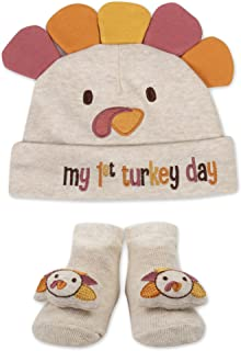 Baby Holiday Socks and Hats or Headbands with Bows for Halloween and Thanksgiving, Ages 0-6 Months Old – 2 Piece Sets