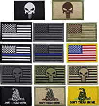 Creatrill Bundle 14 pieces USA Flag Patch Thin Blue Line Tactical American Flag US United States of America Military Morale Patches Set for Caps,Bags,Backpacks,Tactical Vest,Military Uniforms