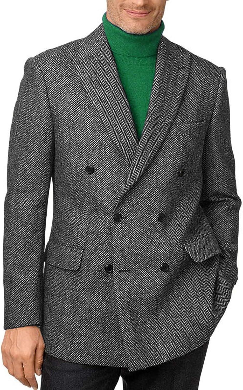 Setwell Direct store Mens Tweed Herringbone Blazer Breasted Fashion Tu Double Indianapolis Mall
