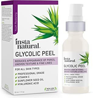Glycolic Acid Facial Peel - With Vitamin C, Hyaluronic Acid - Best Treatment to Exfoliate Deep, Minimize Pores, Reduce Acn...