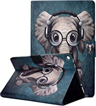 TiKeDa Case for New Kindle Fire HD 10 Tablet (9th/7th/5th Generation,2019/2017/2015 Release), Folio Folding Smart Stand Cover with Pencil Pouch Auto Wake/Sleep for Amazon Fire HD 10.1 (Small Elephant)