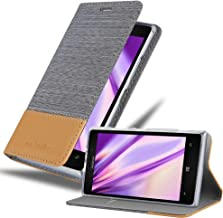 Cadorabo Book Case Compatible with Nokia Lumia 925 in Light Grey Brown - with Magnetic Closure, Stand Function and Card Sl...