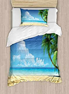 Fantasy Star Twin XL Extra Long Bedding Set,Ocean Duvet Cover Set,Palm Tree Leaves in The Tropical Sand Beach Sea Landscape Graphic Print,Include 1 Flat Sheet 1 Duvet Cover and 2 Pillow Cases