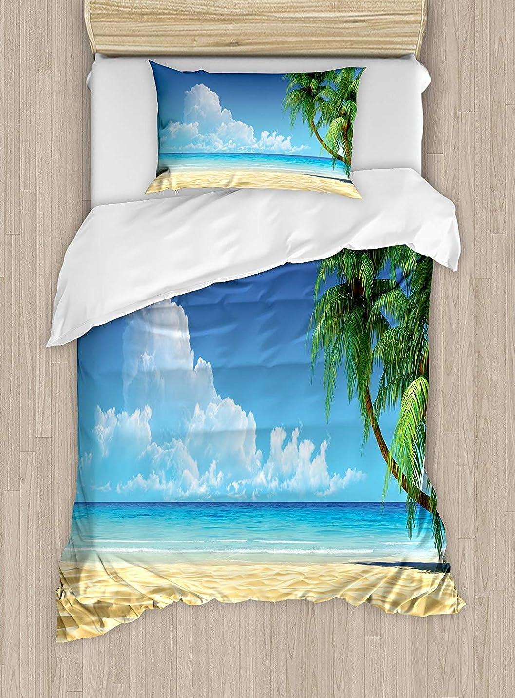 露出度の高いトラクター部族オーシャン布団カバーセットツインサイズ、ヤシの木の葉、熱帯砂浜海の風景グラフィックプリント、装飾的な2ピース寝具セット、1枕シャム、クリーム、ネイビーグリーン