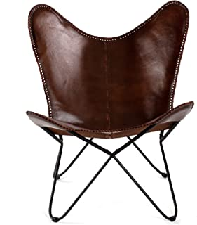 MH London Butterfly Chair - Genuine Leather - Handmade, Solid Iron Frame - Industrial Lounge Chair - Modern Iconic Recline...