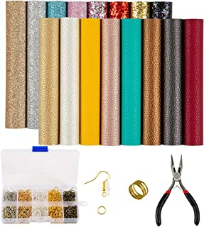24 Pieces Leather Earring Making Kit Include Instructions 4 Kinds of Faux Leather Sheet and Tools for Earrings Craft Making Supplies