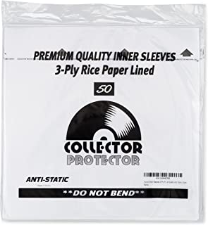Vinyl Record Inner Sleeves 3 Ply Rice Paper Lined Archival Quality Anti Static (50pk) by Collector Protector