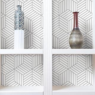 "RoomMates Grey Stripped Hexagon Peel and Stick Wallpaper , White/Grey , 20.5"" x 16.5 Feet - RMK10705WP"