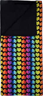 Wildkin Kids Sleeping Bags for Boys and Girls, Perfect Size for Parties, Camping, and Overnight Travel, Cotton Blend Materials Sleeping Bag, Measures 66 x 30 x 1.5 Inches, BPA-free (Rainbow Hearts)