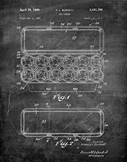 Fresh Prints of CT Original Egg Carton Artwork Submitted In 1969 - Kitchen - Patent Art Print - Chalkboard