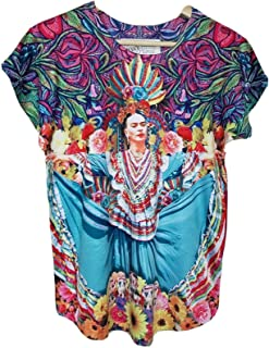 Frida Kahlo Full Print Graphic Tee Mexican T-Shirt Black Striped