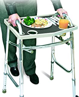 Universal Walker Tray Table With Non Slip Grip Mat - Gray,20.75