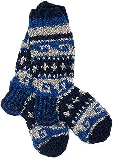 Funky Annapurna Tejido a mano invierno lana calcetines – color azul oscuro