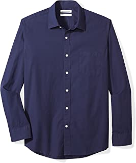 Amazon Essentials Men's Regular-Fit Long-Sleeve Gingham Poplin Shirt