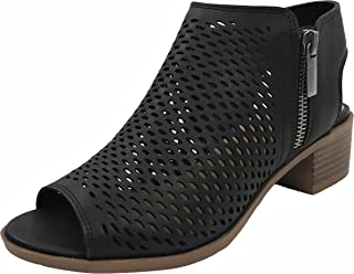 1876a1198 Soda Open Toe Ankle Strap Bootie Sandal Low Heel Perforated Cutout