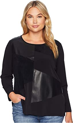 Plus Size 3/4 Sleeve w/ Faux Leather & Suede