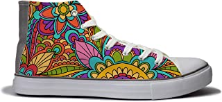 Rivir Latest & Stylish Printed Canvas High Top Sneakers Shoes for Men &Women- (Ethnic Doodle Print)