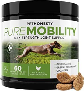 PureMobility Glucosamine for Dogs - Premium Dog Joint Supplement Support with Glucosamine, Green-Lipped Mussel, Collagen &...